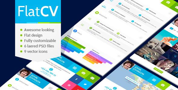 FlatCV - vCard Resume PSD Template